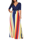 Ericdress V-Neck Lace-Up Stripe Patchwork Women's Maxi Dress