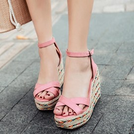Ericdress Ankle Strap Open Toe Platform Wedge Sandals
