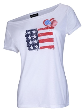 Ericdress Oblique Collar American Flag Star Stripe Print Short Sleeve Tee