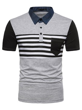 Ericdress Striped Color Block Mens Short Sleeve Polo T Shirts