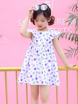 Ericdress Ruffle Sleeve Polka Dots Baby Girl's Summer Dress