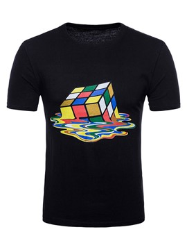 Ericdress Magic Cube Print Mens Summer Basic T Shirt