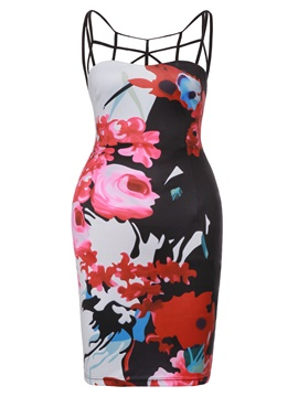 Ericdress Floral Print Spaghetti Strap Backless Bodycon Dress