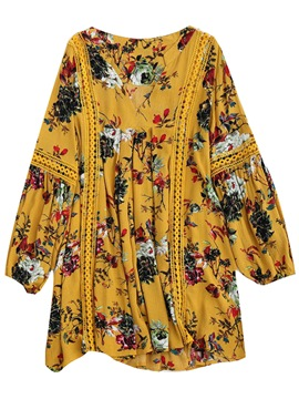 Ericdress V-Neck Floral Pleated Women's Long Sleeve Dress