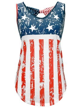 Ericdress Slim American Flag Star Stripe Vest