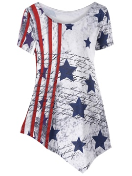 Ericdress Slim Star Stripe Print Scoop Short Sleeve Tee Shirt