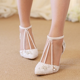 Ericdress T-Shaped Buckle Rhinestone Plain Wedding Shoes