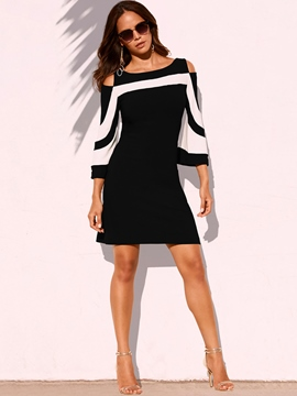 Ericdress Nine Points Sleeve Off-The-Shoulder Color Block Dress