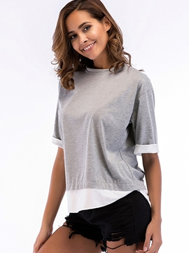 Ericdress Loose Patchwork Scoop Half Sleeve Tee Shirt