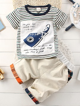 Ericdress Letter Shoes Print T Shirt & Pants Baby Boy's Outfits