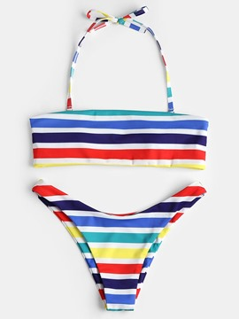 Ericdress Colorful Stripe Halkter 2-Pcs Bikini Bathing Suits
