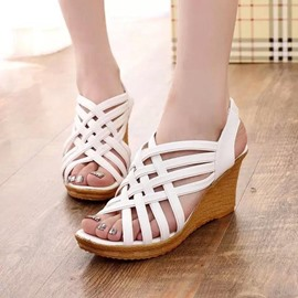 Ericdress Strappy Open Toe Plain Wedge Sandals