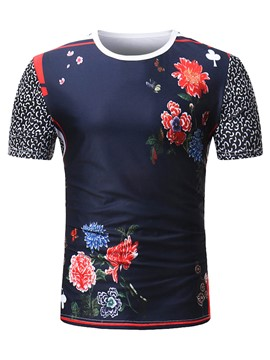 Ericdress Floral Print Stripe Slim Mens T Shirt