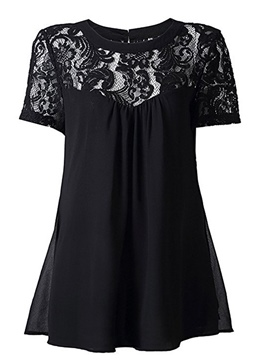Ericdress Lace Patchwork Plain Short Sleeve Blouse