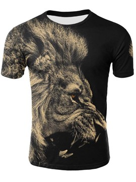 Ericdress Lion Print Slim Color Block Mens T Shirt