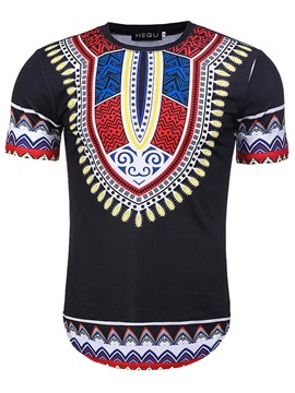 Ericdress Dashiki Afircan Print Mens Loose T Shirt