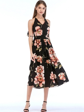 Ericdress V-Neck Print Floral Maxi Dress