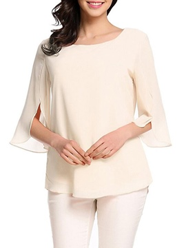 Ericdress Loose Plain Pullover Scoop Short Sleeve Blouse