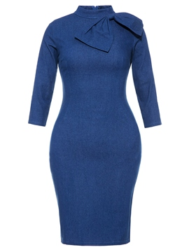 Ericdress High-Neck Bowknot Half Sleeve Women's Bodycon Dress