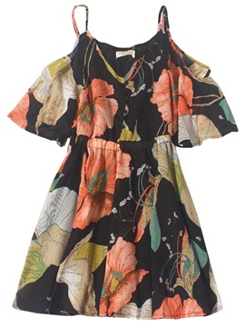 Ericdress Off-The-Shoulder Floral V-Neck Women's Casual Dress