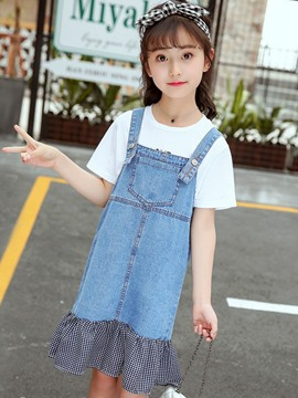 Ericdress Ruffles Suspenders Plaid T Shirt & Skirt Girl's Outfits
