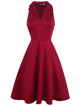 Ericdress Burgundy V-Neck Sleeveless Trumpet A-Line Dress