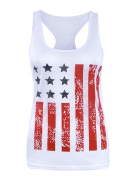 Ericdress I-Shaped Slim American Flag Star Stripe Vest