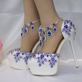 Ericdress Rhinestone Platform Stiletto Heel Line-Style Buckle Wedding Shoes