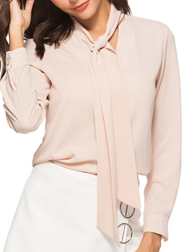 Ericdress Plain V-Neck Loose Tie Neck Long Sleeve Blouse