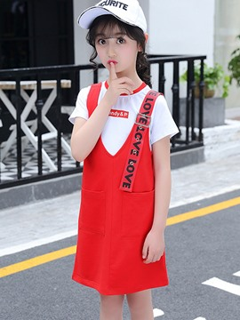 Ericdress Letter Print T Shirt Suspenders Dress Girl's Summer Outfits
