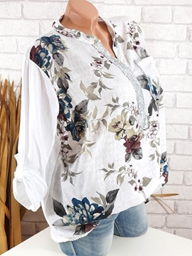 Ericdress V-Neck Print Floral Loose Long Sleeve Blouse