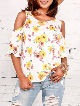 Ericdress Floral Print Scoop Cold Shoulder Flare Sleeve Tee