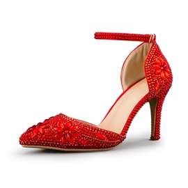Ericdress Rhinestone Stiletto Heel Line-Style Buckle Wedding Shoes