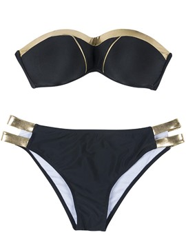 Ericdress Off the Shoulder Black Plain Sexy Bikini Bathing Suits