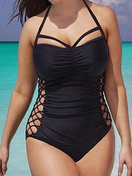 Ericdress Plus Size Black Plain Halter Hollow Pleated One Piece Swimwear