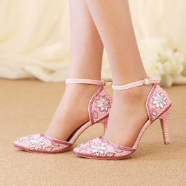 Ericdress Pink Rhinestone Pointed Toe Stiletto Heel Wedding Shoes