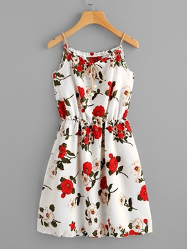 Ericdress Floral Backless Pullover Women's A-Line Dress