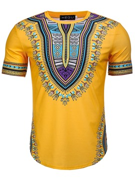 Ericdress African Fashion Dashiki Print Bright Color Mens T Shirt