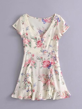 Ericdress V-Neck Floral Pullover Women's A-Line Dress