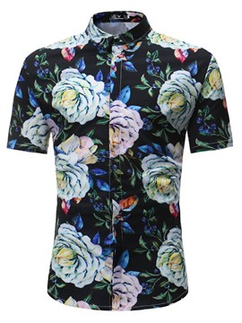 Ericdress Floral Print Slim Fit Mens Short Sleeve T Shirt