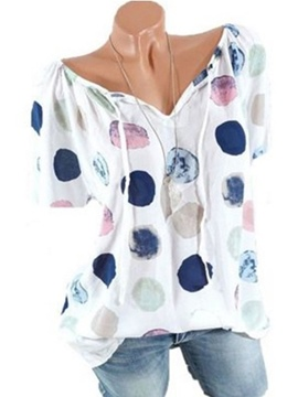 Ericdress Loose Polka Dots V-Neck Pullover Short Sleeve Blouse