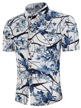 Ericdress Lapel Print Mens Short Sleeve T Shirt