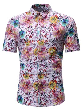 Ericdress Floral Print Slim Mens Short Sleeve Shirt