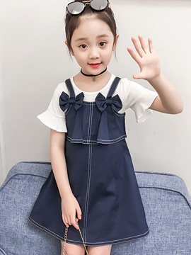 Ericdress Plain Suspenders Bowknot Dress & T Shirt Girl's Outfits