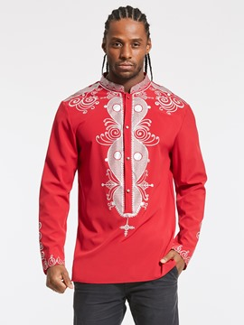 Ericdress Dashiki Style Single-Breasted Slim Men's Printed Shirt
