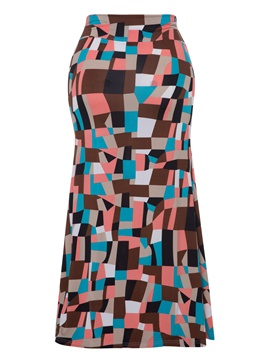 Ericdress Geometric Color Block Women's Skirt