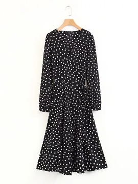 Ericdress Lace-Up V-Neck Polka Dots Women's Casual Dress