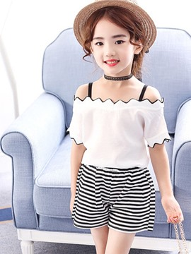 Ericdress Stripe Wave Cut Short Sleeve T Shirt & Shorts Girl's Outfits