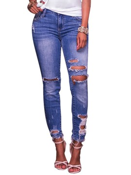 Ericdress Mid-Waist Skinny Ripped Women's Jeans