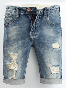 Ericdress Hole Straight Thin Mens Denim Shorts